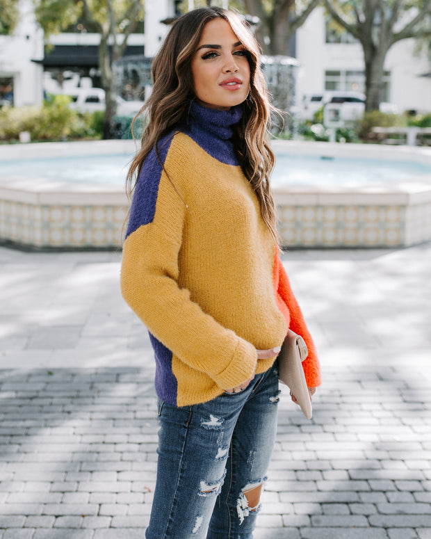 Quirky Colorblock Shimmer Turtleneck Sweater
