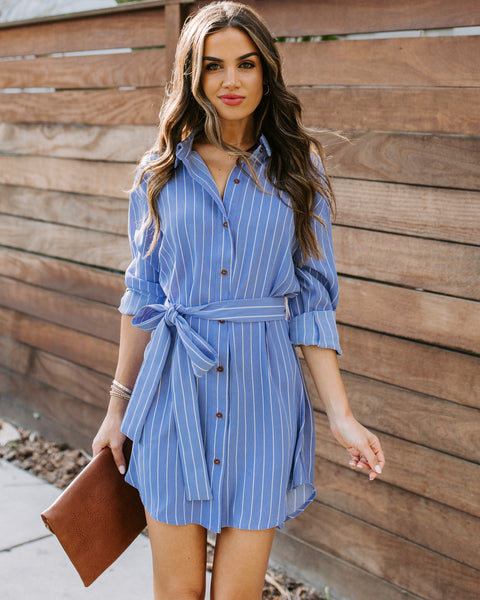 Porter Pinstripe Button Down Shirt Dress