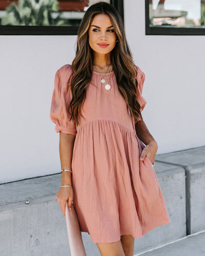 Amber Cotton Pocketed Puff Sleeve Dress - Dusty Mauve