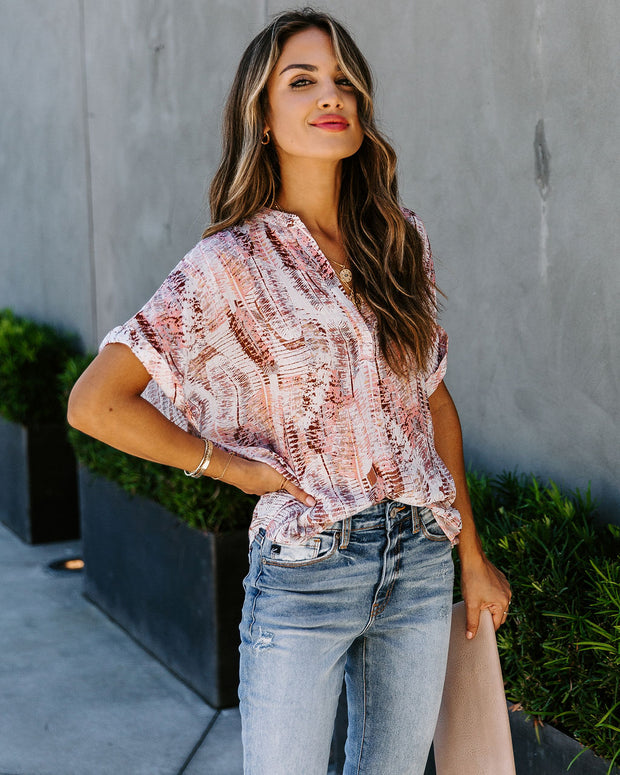 Make The Feathers Fly Metallic Blouse - FINAL SALE
