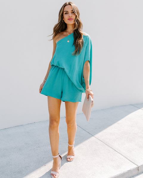 With Purpose One Shoulder Romper - New Mint - FINAL SALE