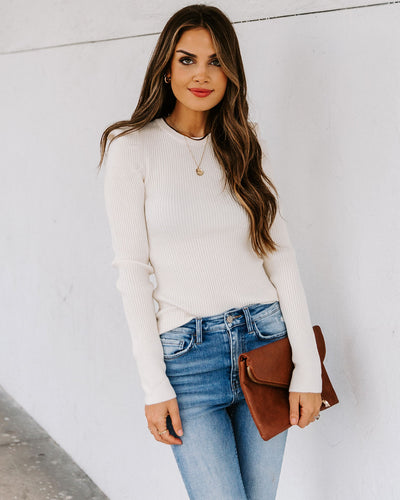 Enchanted Puff Sleeve Ribbed Knit Top