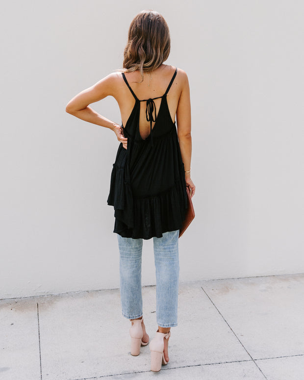 Demi Tiered Babydoll Tank - Black - FINAL SALE