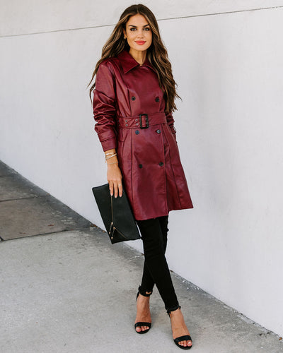 Valentin Pocketed Faux Leather Trench Coat