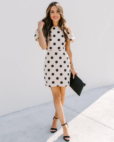 Kate Cotton + Linen Polka Dot Puff Sleeve Dress - FINAL SALE