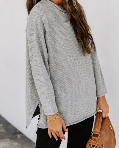 Roll Up Your Sleeves Knit Sweater - Cement
