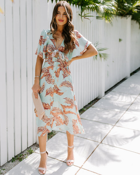 With The Seasons Floral Button Down Midi Dress