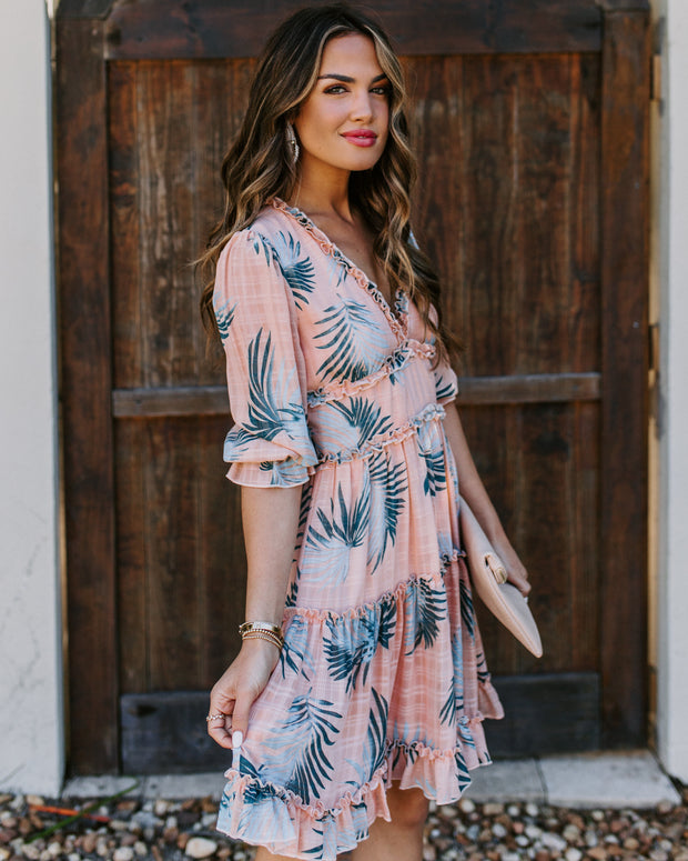 The Ocean Is Calling Palm Print Ruffle Dress - FINAL SALE