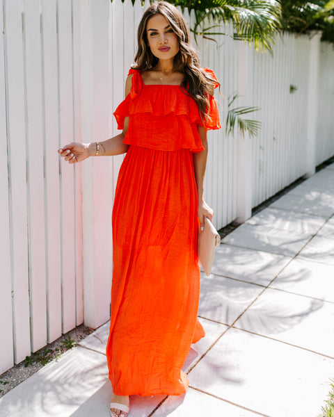 Prosperity Pocketed Tie Maxi Dress - Orange Coral