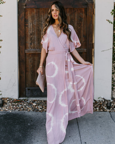 Éclair Pocketed Tie Dye Wrap Maxi Dress - Dusty Rose