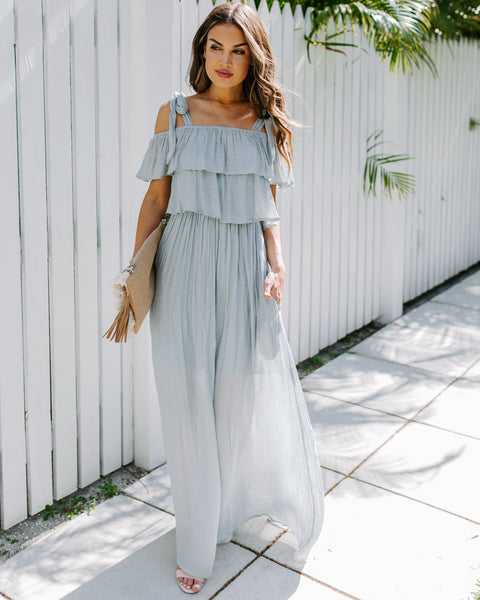 Prosperity Pocketed Tie Maxi Dress - Waterlily