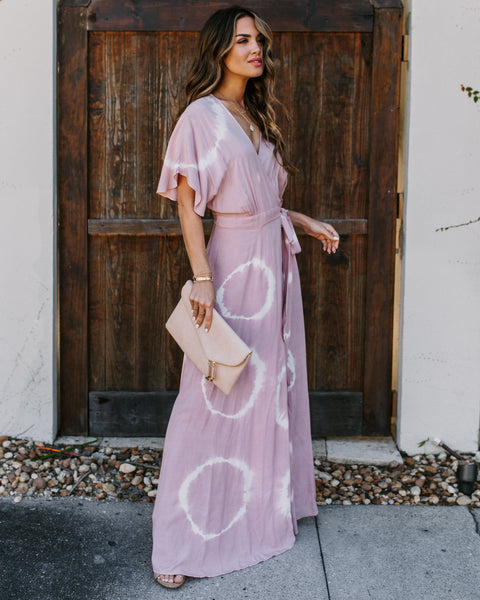Éclair Pocketed Tie Dye Wrap Maxi Dress - Dusty Rose - FINAL SALE
