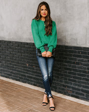 Bubble Over Ribbed Knit Sweater - Green