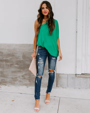 Shower With Love One Shoulder Blouse - Emerald