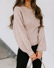 Gela Ribbed Knit Sweater - Taupe