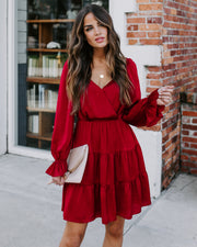 My Lips Are Sealed Satin Tiered Dress - Burgundy