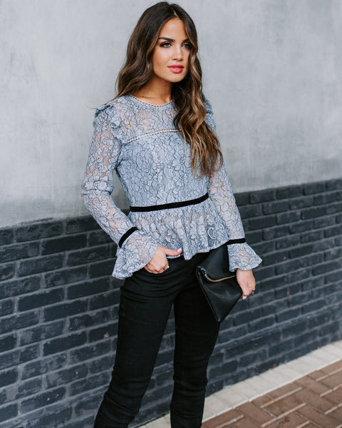 Never Have To Wonder Lace Ruffle Blouse - FINAL SALE