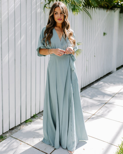 Behati Wrap Kimono Maxi Dress - Mint