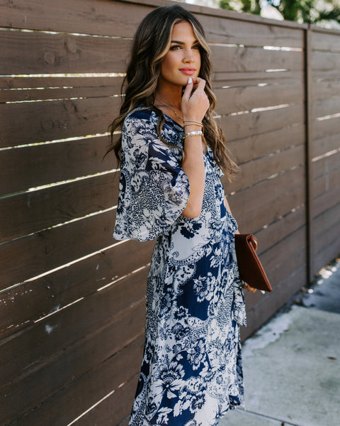 You're Beautiful Printed Wrap Midi Dress - FINAL SALE