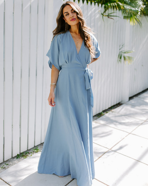 Behati Wrap Kimono Maxi Dress - Blue