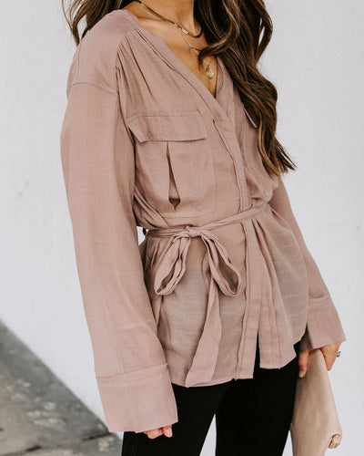 Grace Sheer Wrap Blouse - Light Mocha