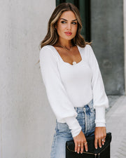 East Village Square Neck Ribbed Knit Top - Ivory