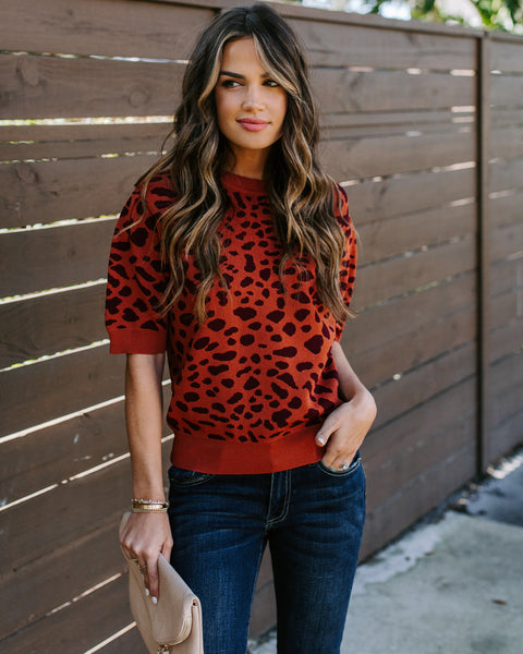 Unpredictable Short Sleeve Spotted Knit Top - Rust