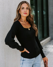 East Village Square Neck Ribbed Knit Top - Black