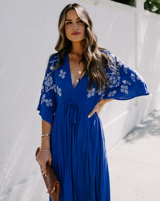 Camila Embroidered Handkerchief Dress - Royal Blue
