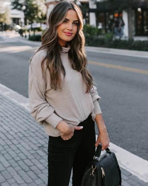 Here To Stay Turtleneck Knit Top - Taupe