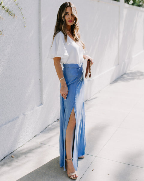Jessa Chambray Frayed Slit Maxi Skirt