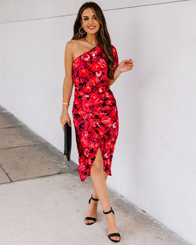 Sorrel One Shoulder Floral Drape Dress