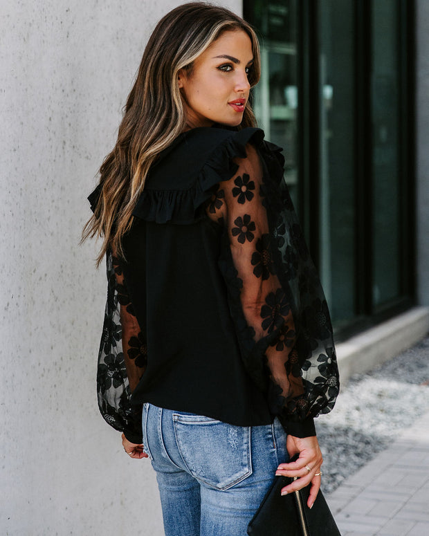 Wish You Well Contrast Sleeve Ruffle Blouse
