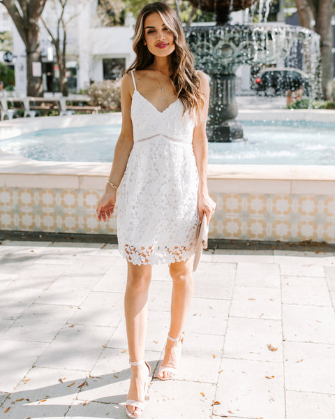 Never Fades Crochet Lace Dress - White