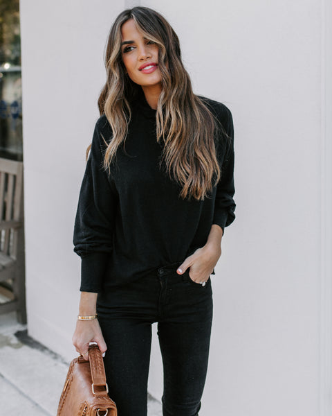 Here To Stay Turtleneck Knit Top - Black