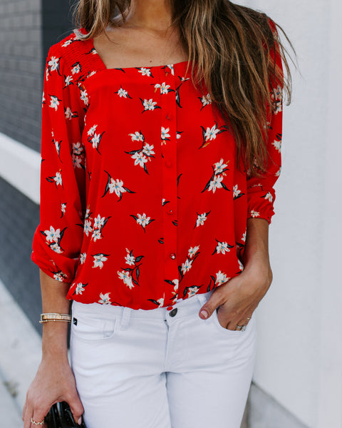 Hyde Park Smocked Floral Blouse