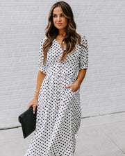 Polka Dot Valley Pocketed Button Down Midi Dress