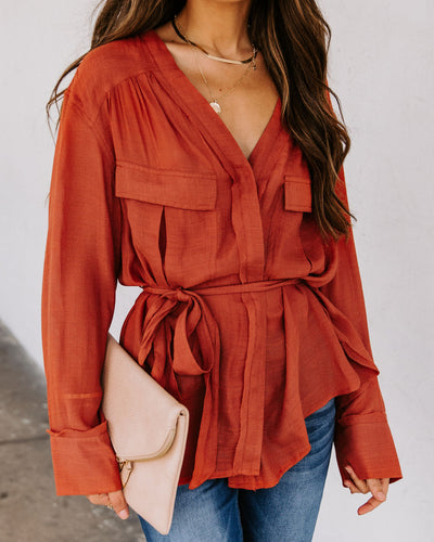 Grace Sheer Wrap Blouse - Terracotta