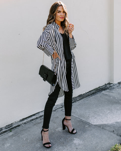 Walk Away Striped Button Down Shirt Dress