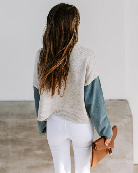 Road Trip Contrast Denim Sleeve Sweater - FINAL SALE