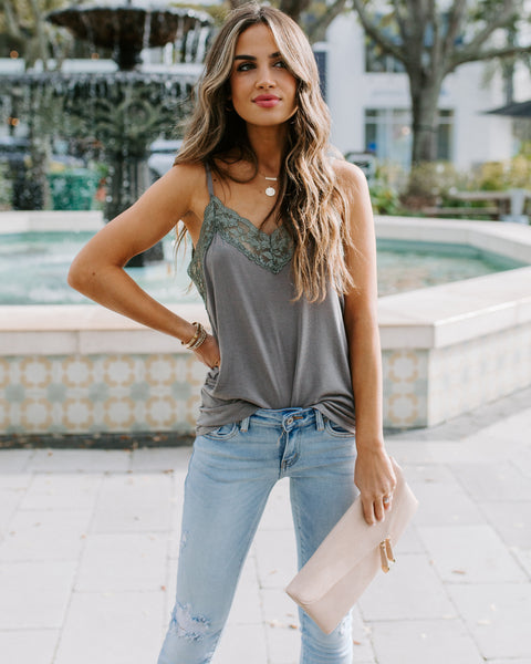 Homestyle Lace Knit Cami Tank - Mist Charcoal