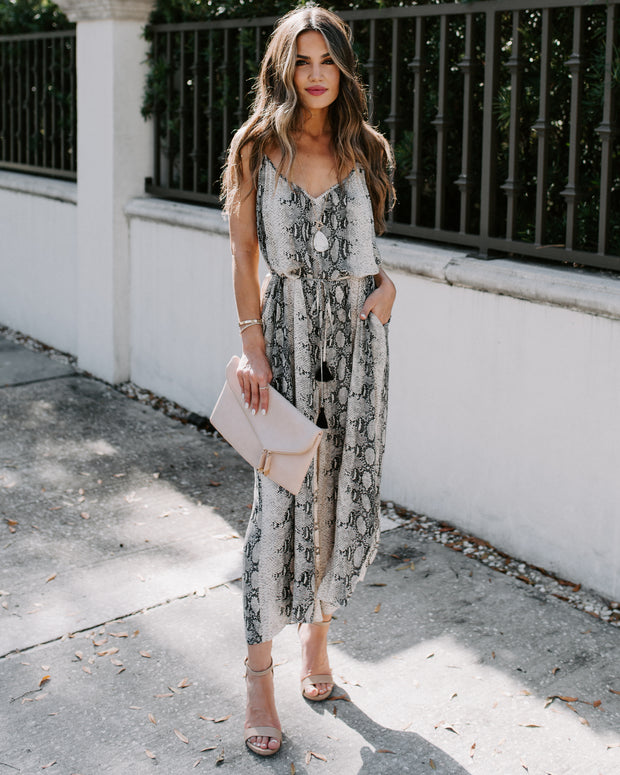 Ysabel Snake Print Pocketed Tassel Jumpsuit