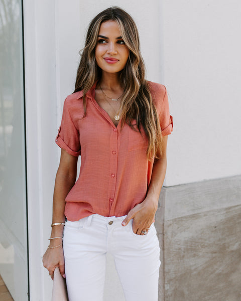 Freddy Short Sleeve Collared Button Down Top - Marsala