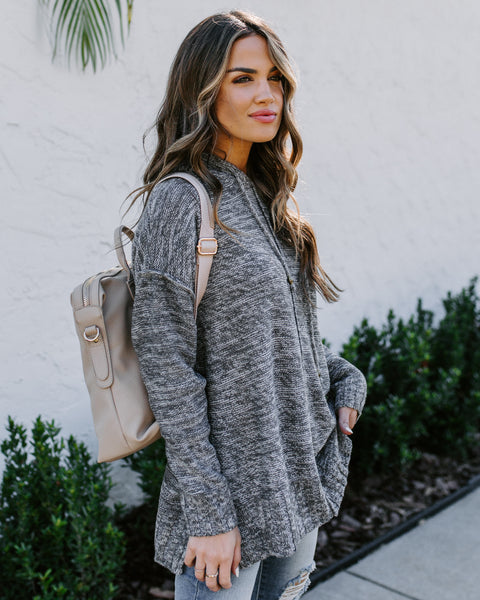 Brown Eyed Girl Hooded Knit Sweater - Charcoal