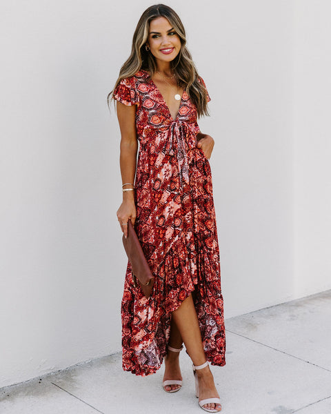 Kiss And Make Up High Low Pocketed Tie Maxi Dress