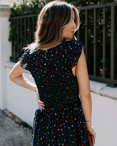 Confetti In The Air Smocked Pocketed Midi Dress