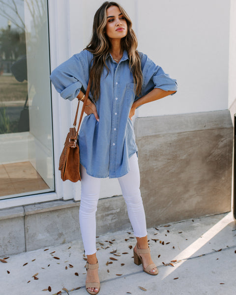 Bay Area Chambray Relaxed Button Down Top