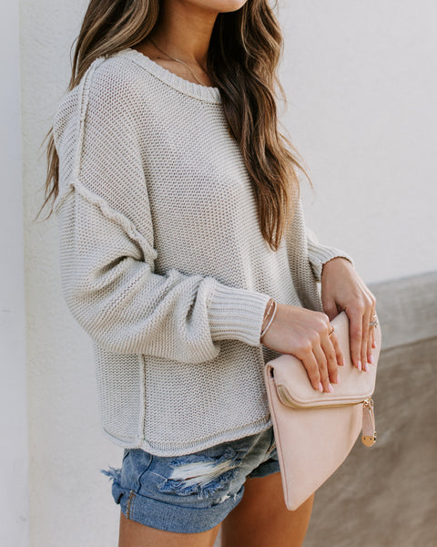 Chelsea Cotton Sweater - Light Taupe
