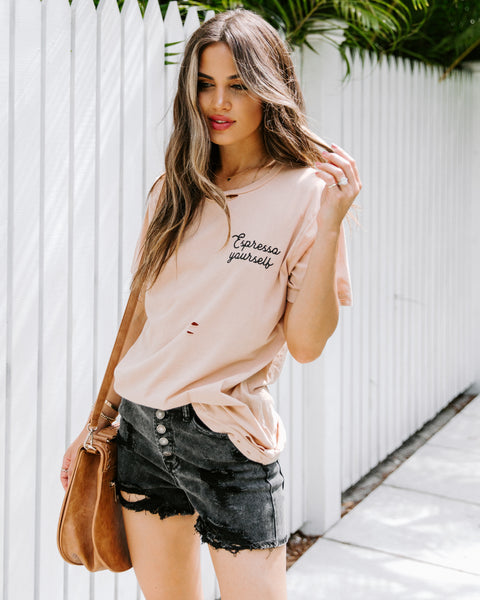 Espresso Yourself Distressed Cotton Tee