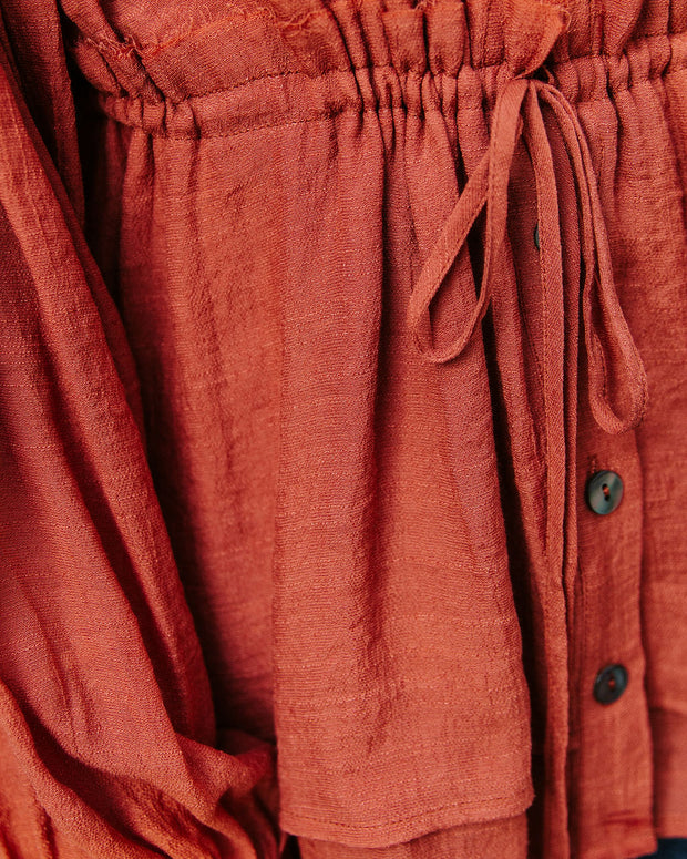 Free Flowing Drawstring Blouse - Terracotta